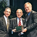 Bill  Balistreri, M.D. (left) former President of the American Association for the Study of Liver Diseases, Eugene Schiff, M.D. (middle) and Bruce Bacon M.D. (right)